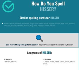 Correct spelling for hisser
