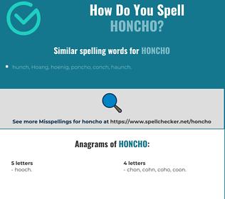 Correct spelling for honcho