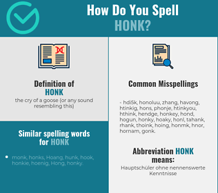 Correct spelling for honk