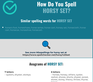 Correct spelling for horsy set