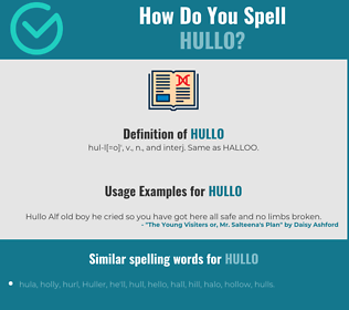 Correct spelling for hullo