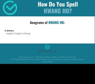 Correct spelling for Hwang Ho