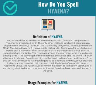 Correct spelling for hyaena