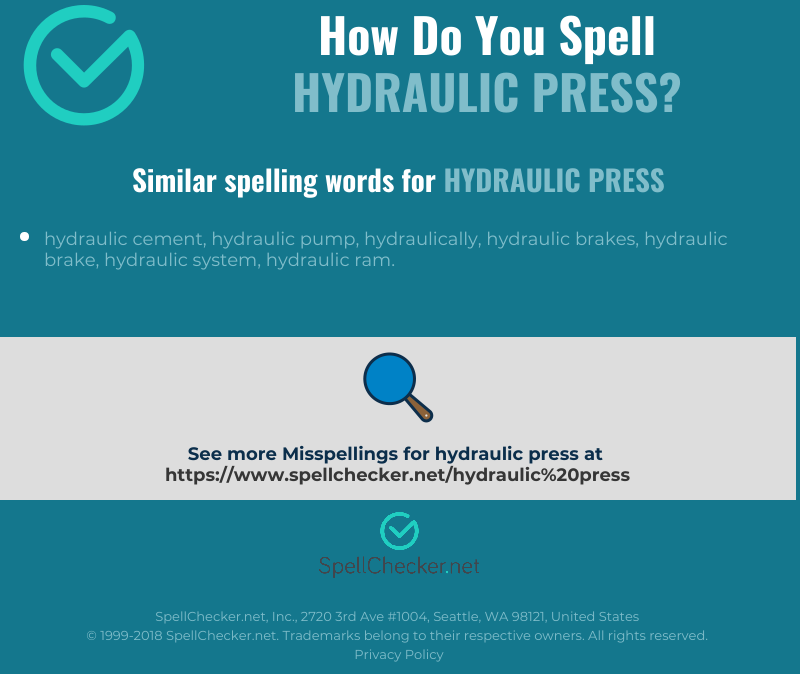 Correct spelling for hydraulic press [Infographic
