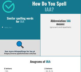 Correct spelling for iaa
