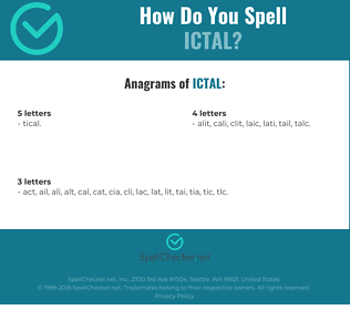 Correct spelling for ictal