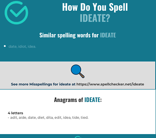 Correct spelling for ideate