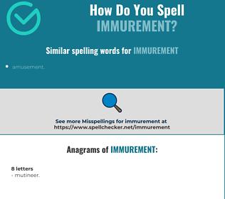 Correct spelling for immurement