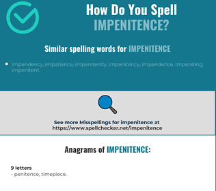 Correct spelling for impenitence