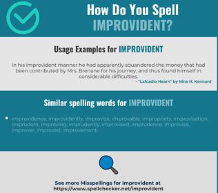 Correct spelling for improvident