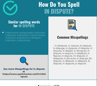 Correct spelling for in dispute