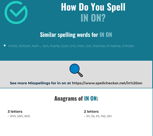 Correct spelling for in on
