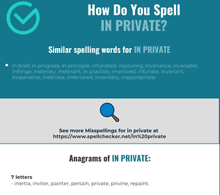Correct spelling for in private