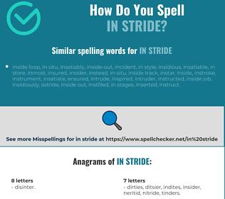 Correct spelling for in stride