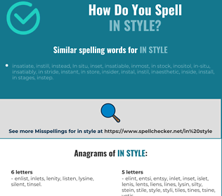 Correct spelling for in style