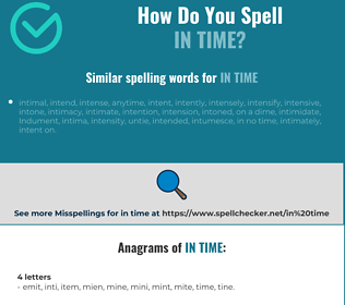 Correct spelling for in time