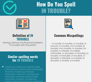 Correct spelling for in trouble