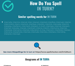 Correct spelling for in turn