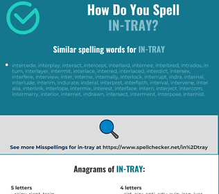 Correct spelling for in-tray