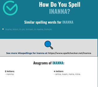Correct spelling for inanna
