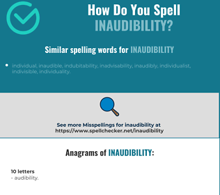 Correct spelling for inaudibility