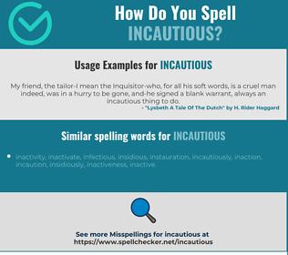 Correct spelling for incautious