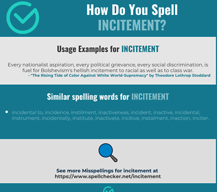 Correct spelling for incitement