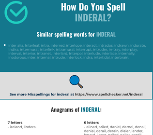 Correct spelling for inderal