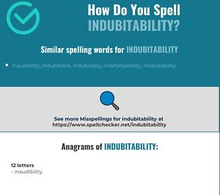 Correct spelling for indubitability
