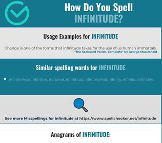 Correct spelling for infinitude