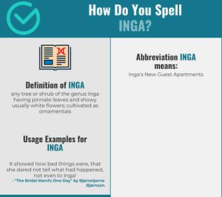 Correct spelling for inga