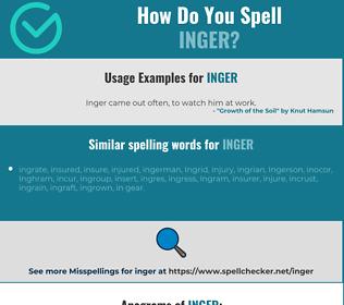 Correct spelling for inger
