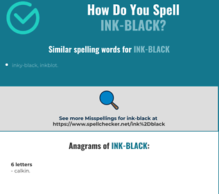 Correct spelling for ink-black