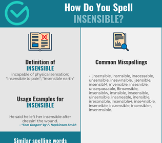 Correct spelling for insensible