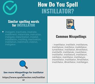 Correct spelling for instillator