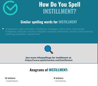 Correct spelling for instillment
