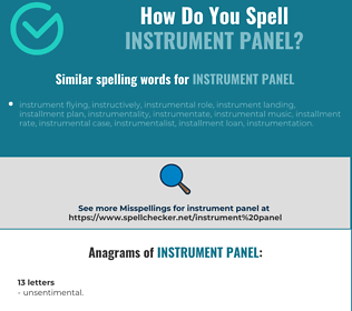 Correct spelling for instrument panel
