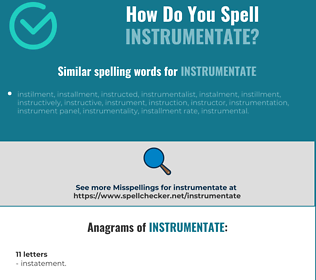 Correct spelling for instrumentate