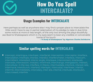 Correct spelling for intercalate