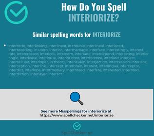 Correct spelling for interiorize