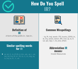 Correct spelling for ir