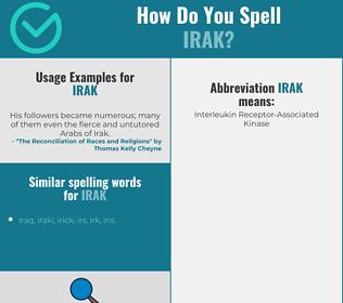 Correct spelling for irak
