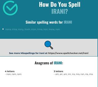 Correct spelling for irani