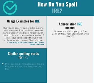 Correct spelling for ire