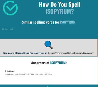 Correct spelling for isopyrum