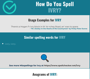 Correct spelling for ivry