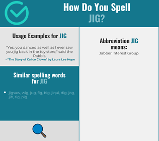 Correct spelling for jig
