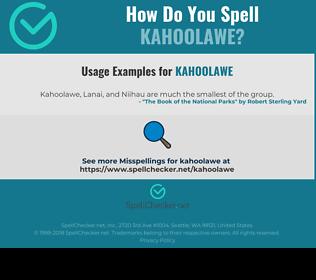 Correct spelling for kahoolawe