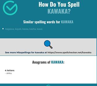 Correct spelling for kawaka