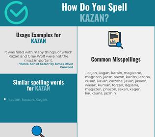Correct spelling for kazan